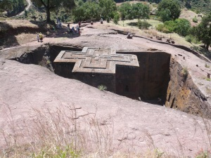From above - church of St George at Lalibela