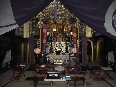 Inside the place for worship at Zenkoji.