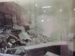 This is a (bad) photo of a pic in the museum showing what happened to the village in 1966.