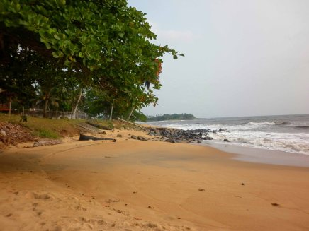 Kribi beach, twenty metres from the door of my guesthouse.