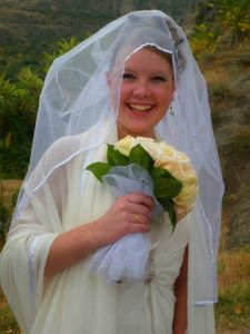 A bride in Tbilisi, Sioni Church,  looking very happy on her big day.