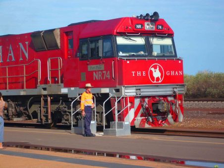 The Ghan in Alice Spings.