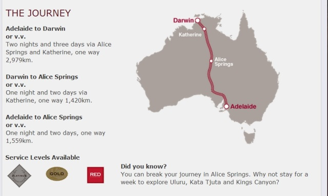 From the Great Southern Rail website, the full route.