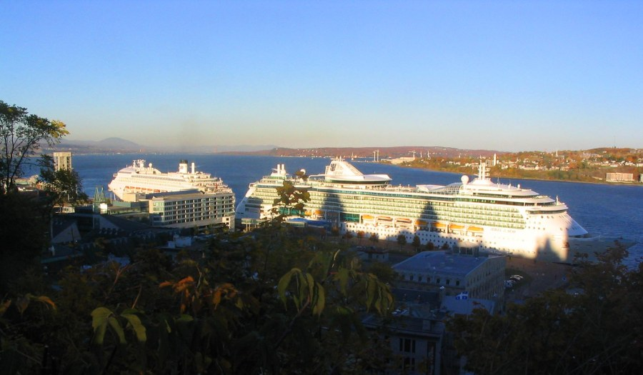 Giant Cruise ship on the St Lawrence River
