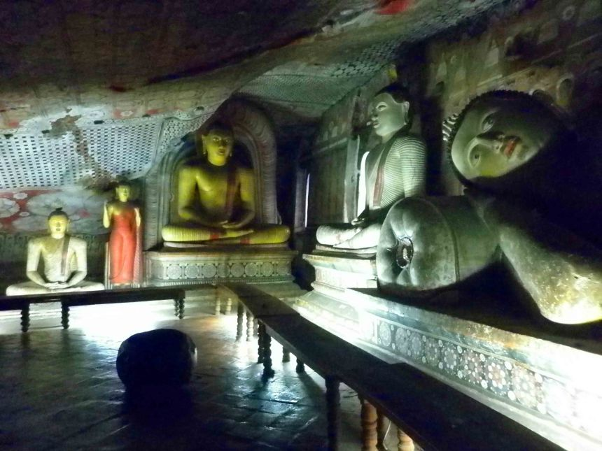 Inside one of the caves at the Dambulla Cave Temple