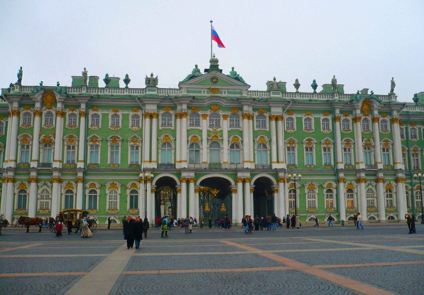 The facade of the Winter Palace opening up onto Palace Square