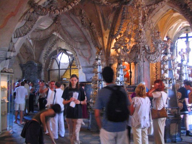 Inside the Sedlec Ossuary in Kutna Hora.
