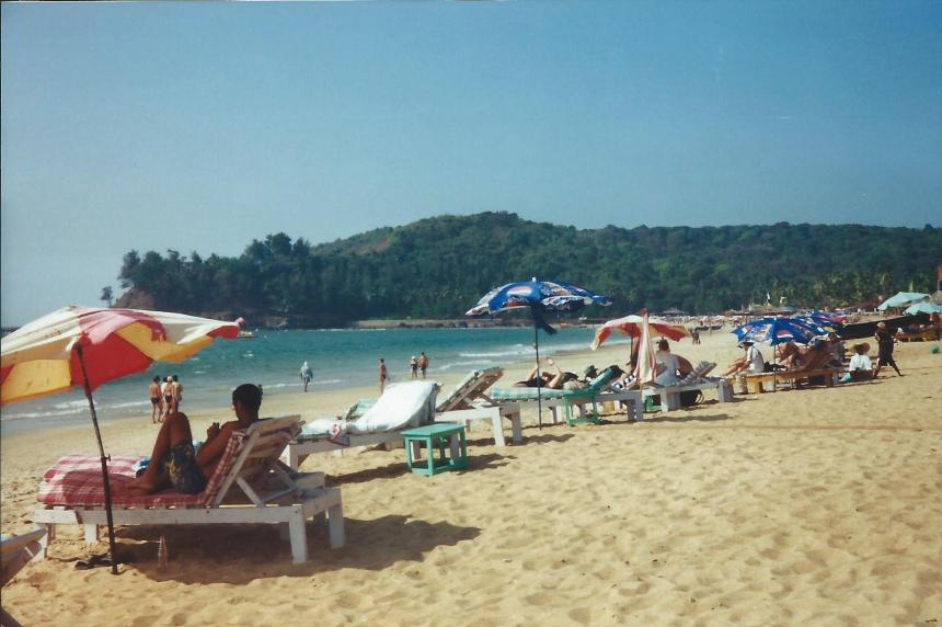 Sunny beach at Goa, India, 2001