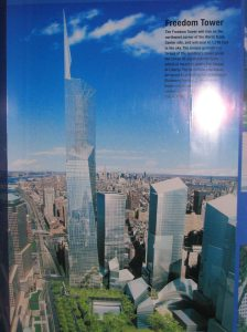 Plans for the Freedom Tower as of 2004 on display at the site with the WTC once stood.