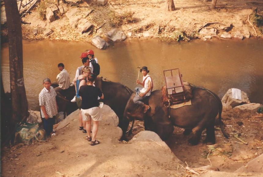 Elephant trek, Thailand, 1999