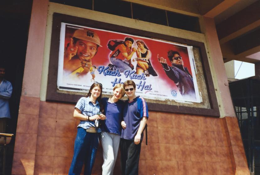 Outside the cinema.