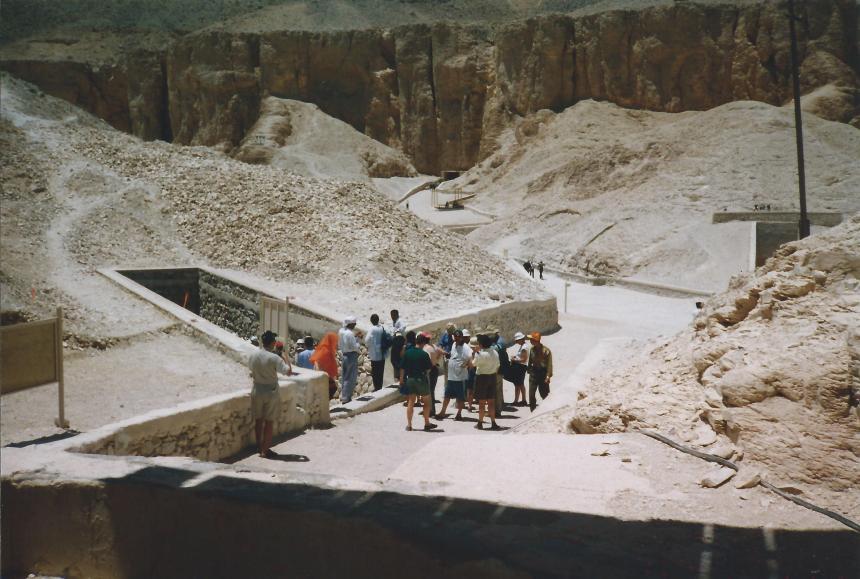 Entering a tomb.