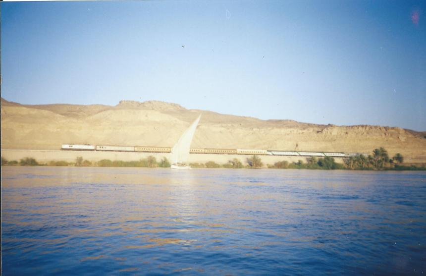 A single sail boat on the Nile