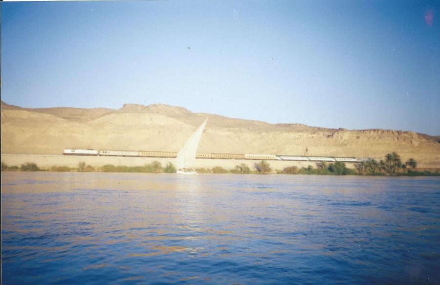 A single sail boat on the Nile