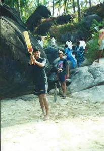 Cricket on a Goan beach.