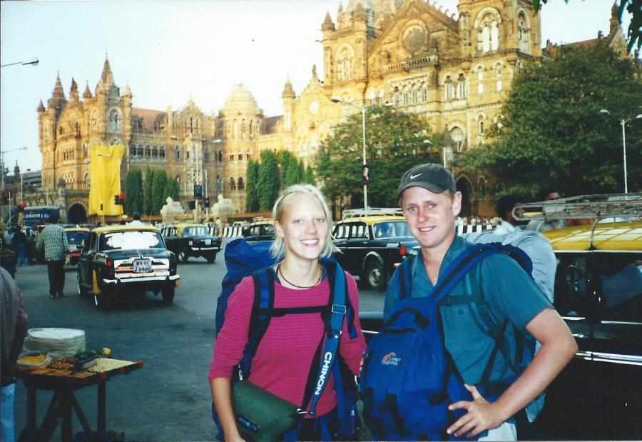 Couple of friends I made on my way back to Mumbai in front of the amazing train terminus.