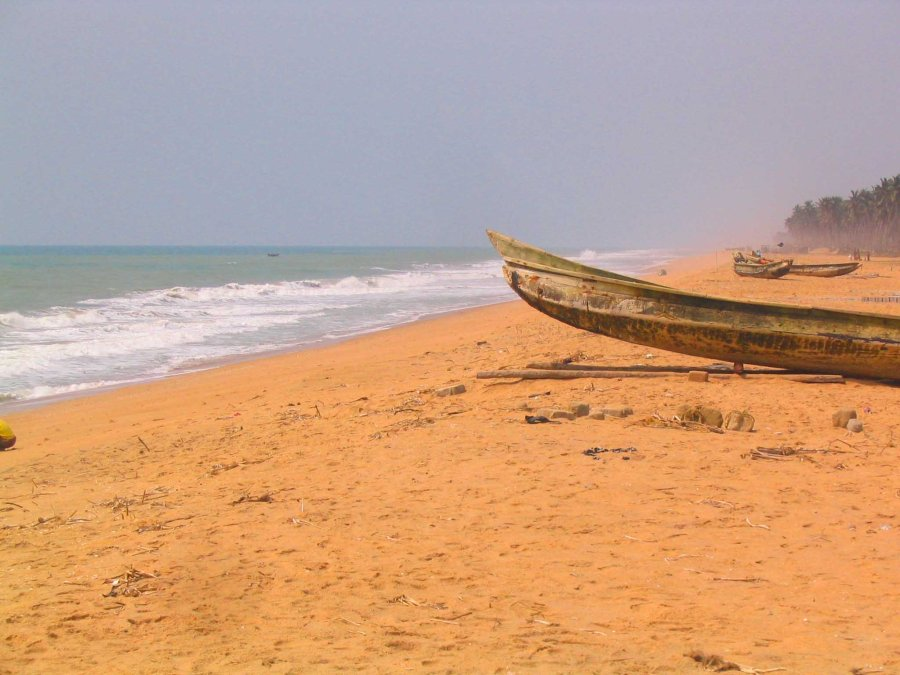 Fishing boats on the beach at Ouidah.
