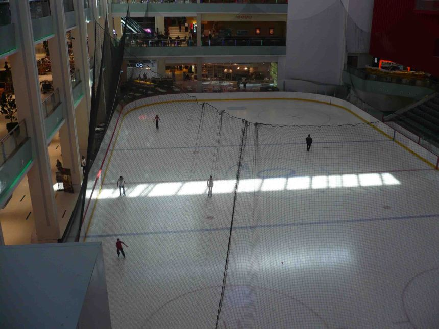 Ice Skating in a Mall.
