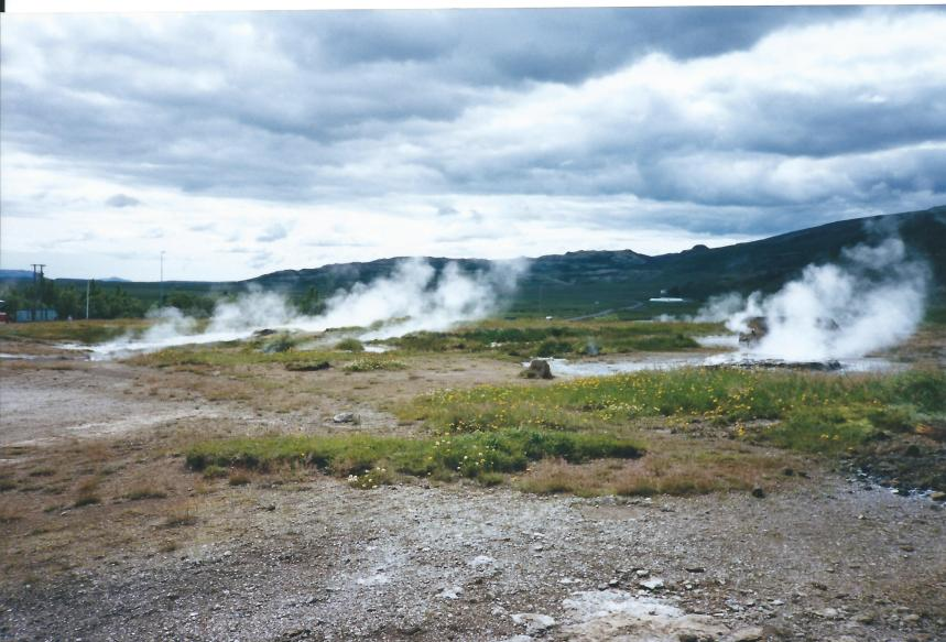 Steaming hot springs near the Geysir.