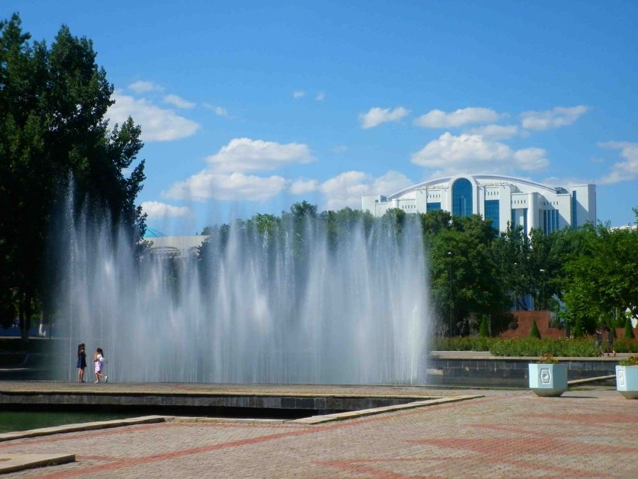 Fountains and parks abound in Tashkent.