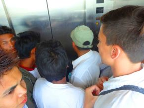 waiting inside the lift