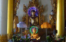 Fairy lights on Buddha. I say it's tacky.