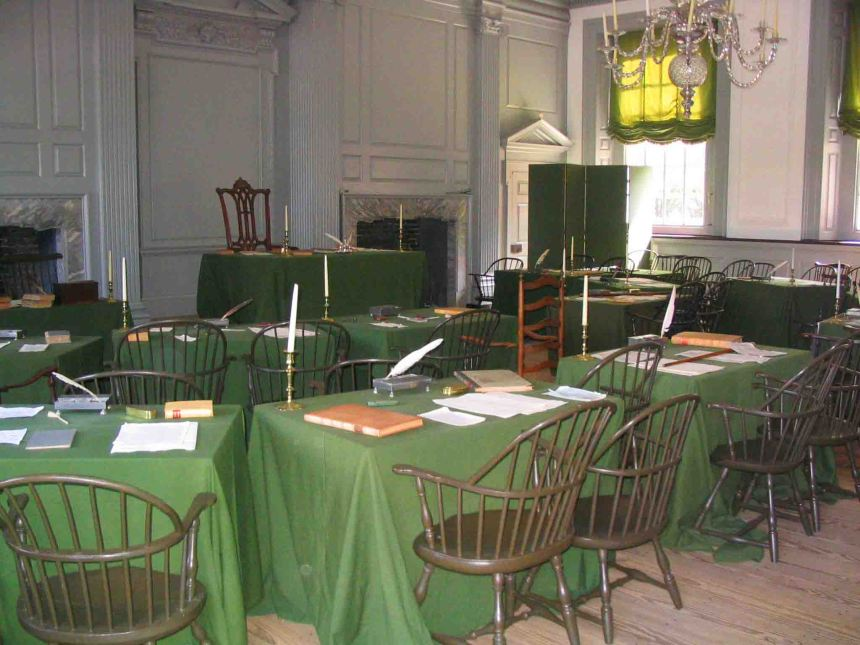 Inside Independence Hall.