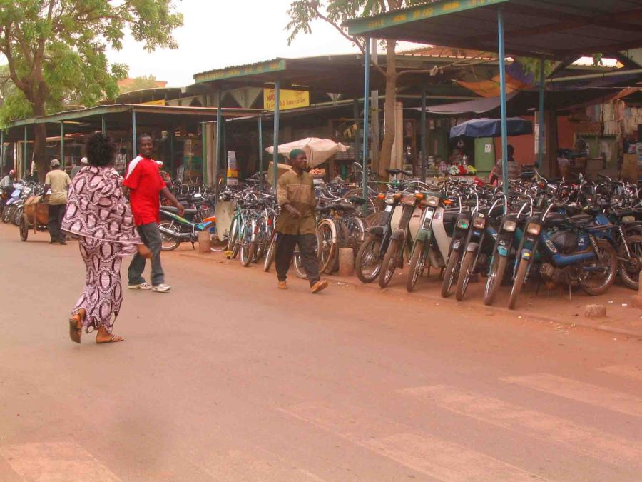 Bikes lined up on the same road as the internet cafe in Bobo-Diolosso, Burkina Faso