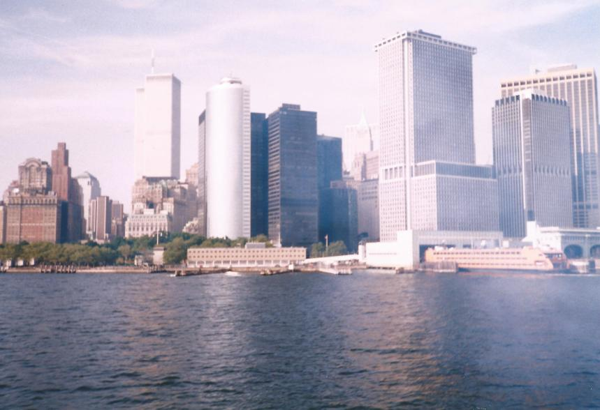 New York from the harbour on a ferry.