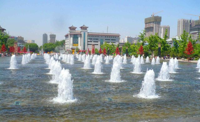 Waterfall by the Seven Goose Pagoda.
