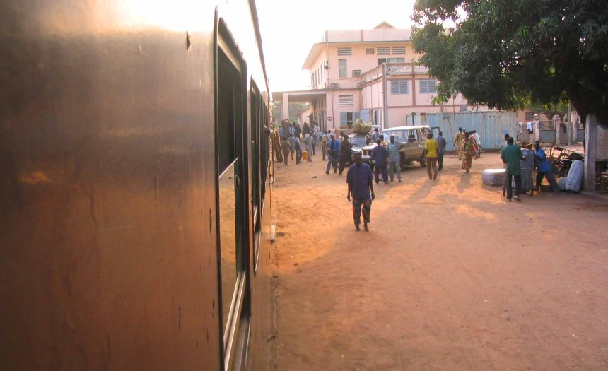 The Cotonou train station.