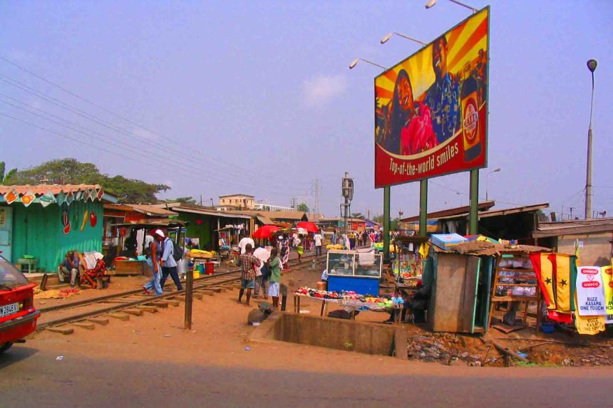 Railway line through Accra. Used mainly as a market and place to live.