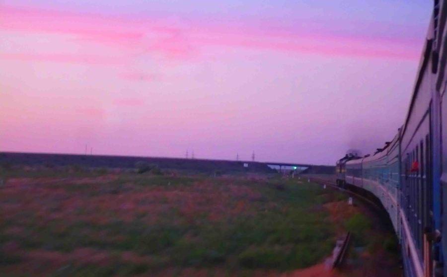 sunrise over the Kazakh steppe.