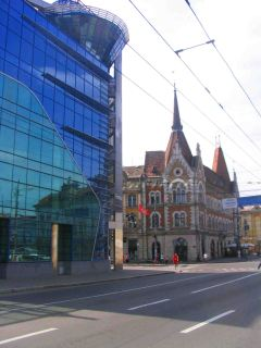 Modern and old next to each other in Cluj.
