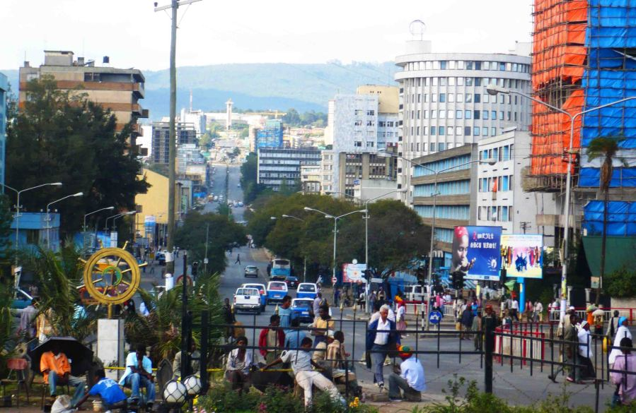 Bustling Addis.