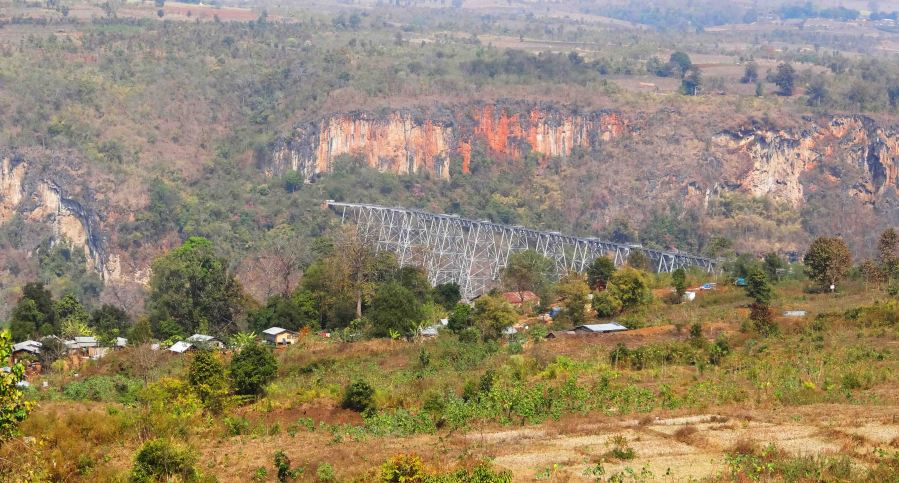 Gokteik Viaduct as we approach.