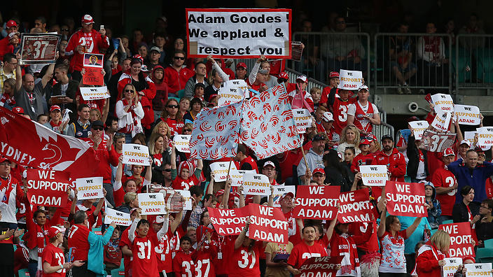 Sydney Swans fans holds banners in support of player Adam Goodes. From sbs.com.au