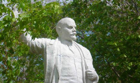 Lenin statue in a park in Semey.