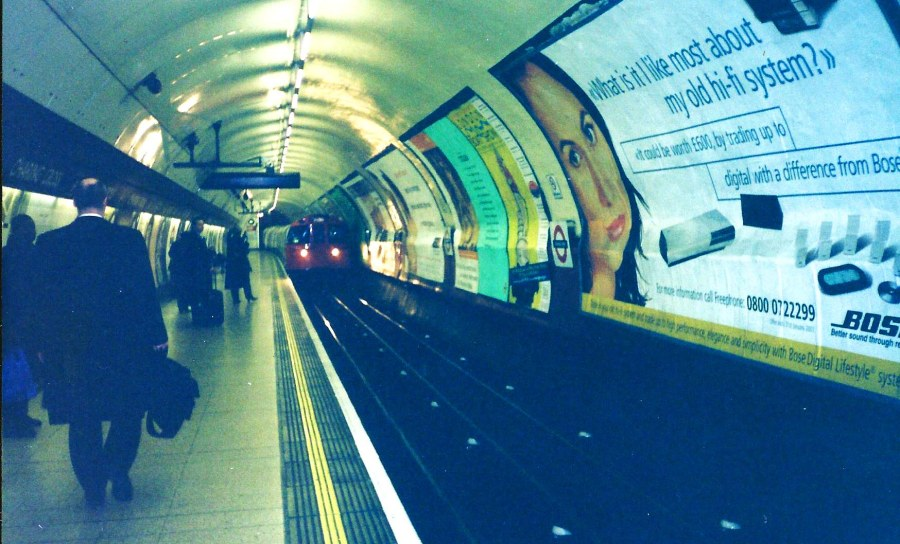 Train arriving at a Tube station.