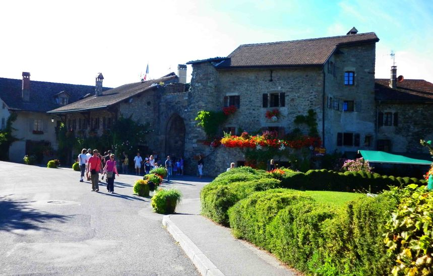 Approaching Yvoire's historic centre