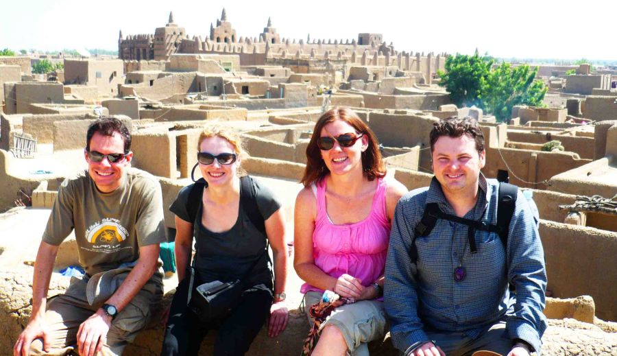 In Djenne with the famous mosque in the background.