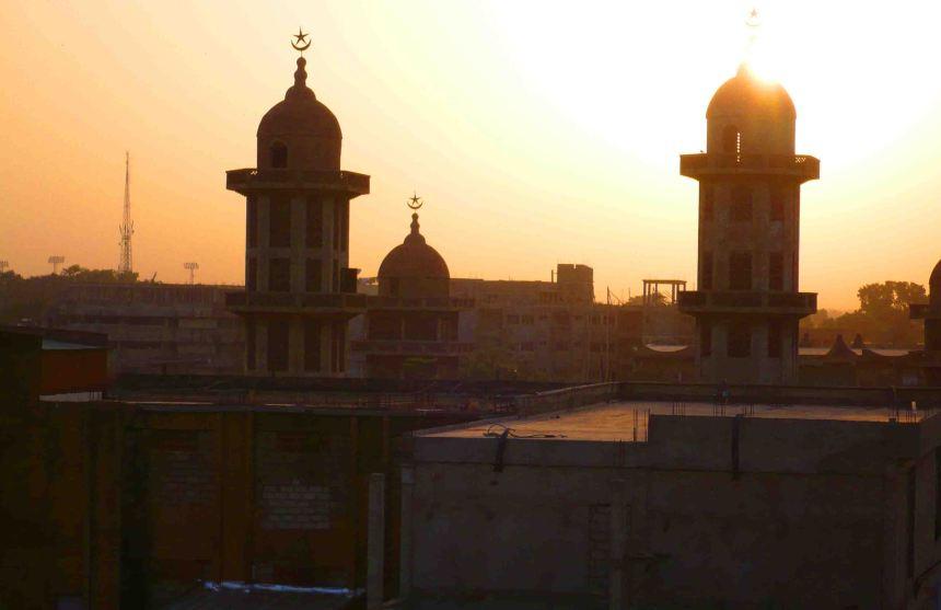 Sun sets over Ouagadougou's Grand Mosque.