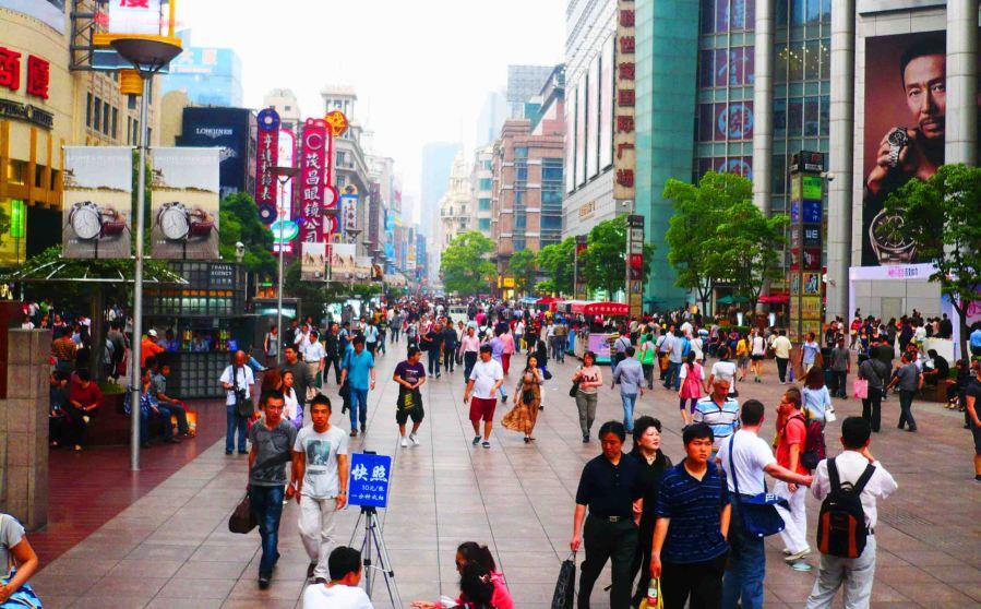 Shopping strip in Shanghai.