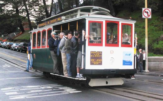 The cable car (tram) famous in San Francisco.