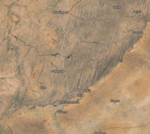 Dogon Escarpment from above (thanks to Google maps)