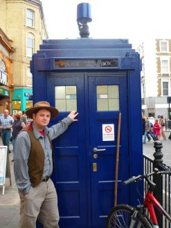 It's me, outside a Police Box outside Earl's Court station.