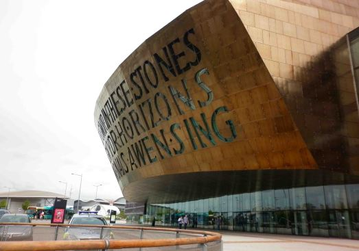 Outside the Millenium Centre, Cardiff.