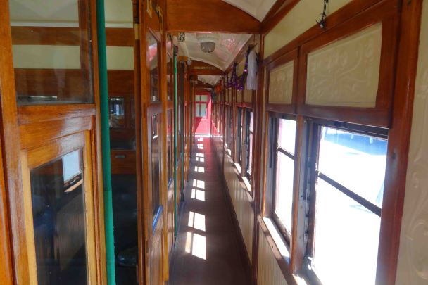 Inside the restored carriage.