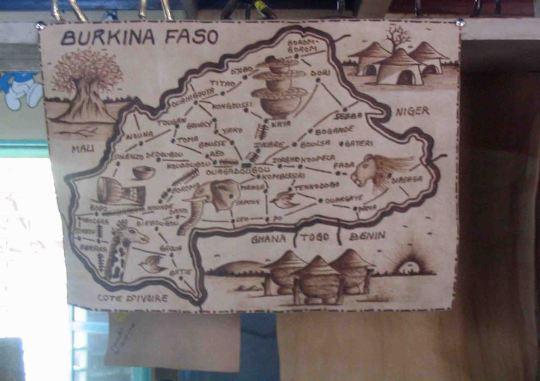 Map on a cloth in a gift shop, Ouagadougou
