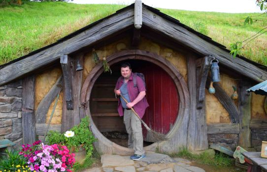 He he! One Hobbit door as a wall behind it for pictures.